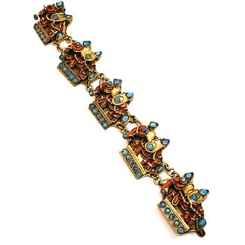 Nepalese Tribal red branch coral turquois inlay lucky elephant vintage panel bracelet