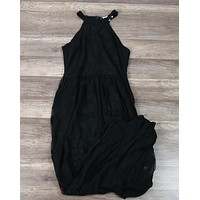 Honey Punch - As You Wish Sleeveless Halter Maxi Romper Embroidered Lace Dress in Black