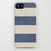 vintage dark blue stripes iPhone & iPod Case by Her Art
