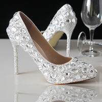 Celebrity Pointed Toe Sparkle Crystal Bridal Heels Shoes Shinny Heels