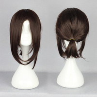 38CM short brown cosplay wig Attack on Titan-Hanji Zoe synthetic Anime Cosplay wig,Colorful Candy Colored synthetic Hair Extension Hair piece 1pcs WIG-365G