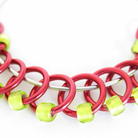 Extra Small Stitch markers for socks | Ring stitch markers | Snagless stitchmarker | Knitting gift | red rings; lime beads | #0314