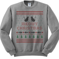 Meowy Christmas Ugly Cat Sweater