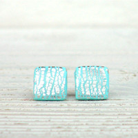 Tiny Earrings with Silver Foil - Square Ear Studs - Mint - Everyday Earrings - Childrens Jewelry - Gift idea