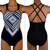 Plus Size Sexy One Piece Monokini Bikini Push Up Padded Bra Swimsuit Swimwear US