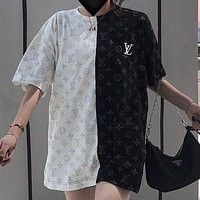 Louis Vuitton LV fashion new short-sleeved t-shirt female black and white stitching full-print half-sleeved top