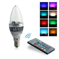 85-265V E14 Led Bulb 3W Led Lamp Rgb Spot Light / Candle Lamp / Colorful Bulbs W/ 24 Buttons Remote Control