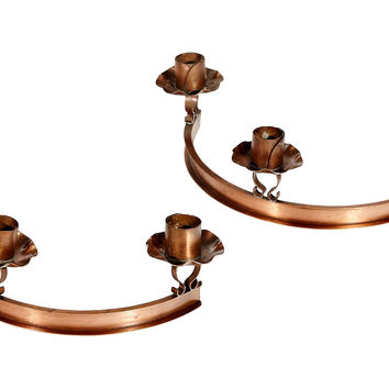 1950s Copper Candleholders, Pair