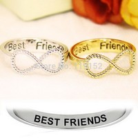Fashion 2PCS/Lot size 6 Best Friends Ring Women's Infinity Rings Engraved Rings O Jewelry Gold Silver Jewelry