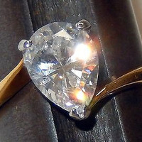 Engagement Ring Full Cut CZ Pear Shape EDCO Cubic Zirconia 14 KGE Gold size 7