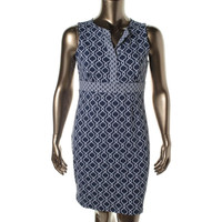 Charter Club Womens Petites Nantucket Printed Sleeveless Wear to Work Dress