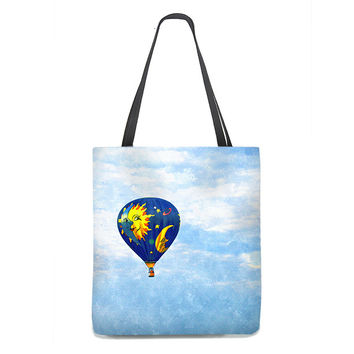 Hot Air Balloon Tote Bag with blue sky