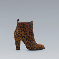 LEOPARD PRINT HIGH-HEEL ANKLE BOOTS - Shoes - Woman - ZARA United States