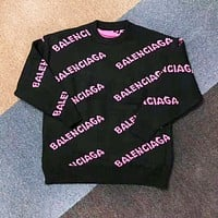 Balenciaga New fashion more letter print long sleeve top sweater Black