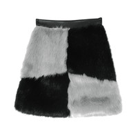 Fuzzy Color-Blocked Panel Skirt