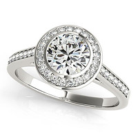 Tammy 9.5mm Round Moissanite Bezel Channel Halo 14K White Gold Engagement Ring