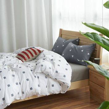 100% Cotton Nordic Style Bedding Set 3/4pcs Quilt Cover Geometric Duvet Cover Bed sheet Fitted sheet Pillowcase King Queen Twin