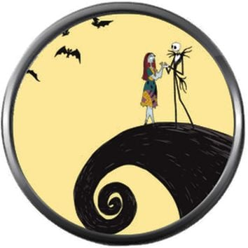 On Spiral Hill Jack And Sally In Love Nightmare Before Christmas Jack Skellington 18MM - 20MM Snap Jewelry Charm