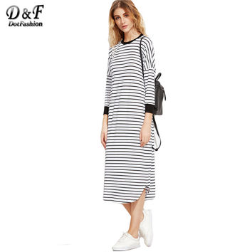 Dotfashion Ladies Dresses Loose Fashions Black and White Striped Contrast Trim Drop Shoulder Straight Tee Dress