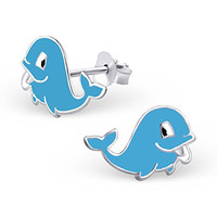 .925 Sterling Silver Hypoallergenic Cute Whale Earrings for Girls (Nickel Free) --With Gift Box --