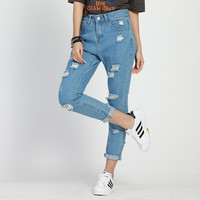Women jeans Fashion boyfriend jeans for woman Loose size hole denim pants vintage high waist jeans femme
