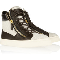 Giuseppe Zanotti Leather-trimmed woven high-top sneakers NET-A-PORTER.COM