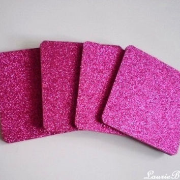 "HOT PINK Glitter Coasters - Large Square Drink Coasters in Sparkling Fine Glitter - set of four - 4"" x 4"""
