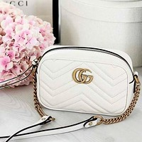 Gucci Fashion New Women Shopping Leisure Chain Leather Crossbody Shoulder Bag Satchel White