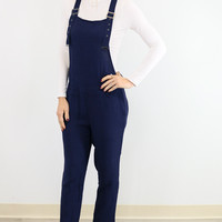 Fashion Week Navy Overalls With Semi Sheer Top
