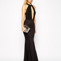 Jarlo Jolie High Neck Maxi Dress with Open Plunge Detail
