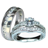 Her & His Sterling Silver and Stainless Steel Cz Wedding Ring Set