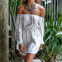Lone Star White Stripe Off The Shoulder Dress