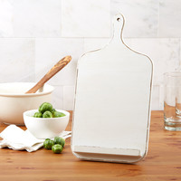 Antiqued White Cutting Board Cookbook and Tablet Stand