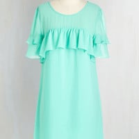 Pastel Mid-length Short Sleeves Shift Ruffled and Radiant Dress by ModCloth
