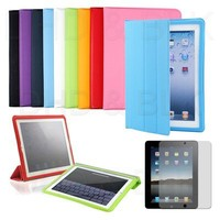 New iPad 2 Fullbody Smart Cover Slim Magnetic PU Leather Case Stand Multi-Color