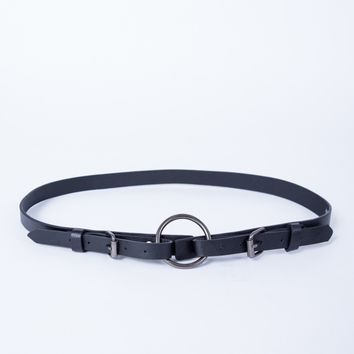 Double Buckled Thin Leather Belt