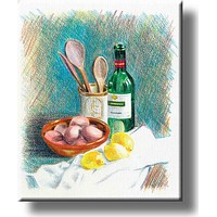 Home Cooking Kitchen Picture on Stretched Canvas, Wall Art decor, Ready to Hang!