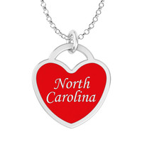 North Carolina Heart Necklace in Solid Sterling Silver