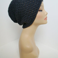 FREE SHIPPING - Mens or Unisex DC Slouchy Crochet Beanie - Charcoal Gray