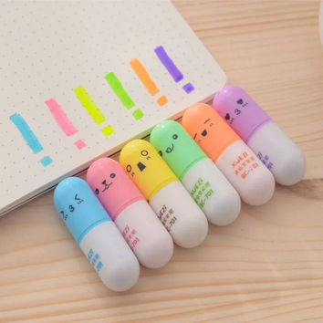 6 pcs set Mini Pill shaped highlighter pens for writing Cute face Graffiti marker pen Korean stationery school office supplies