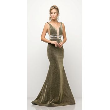 Fitted Stretch Olive Gown Beaded Belt Detail Deep Plunging Neckline