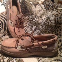 Sperry Top-Sider Bluefish Tan 2-Eye Leather Boat/Deck Shoes Girls Women's Sz 4M