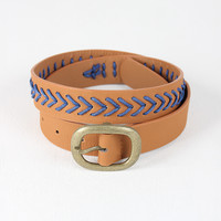 Woven Contrast Vegan Leather Belt