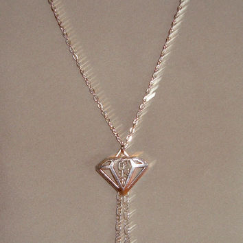 Funky Diamond Necklace with Chain Dangle