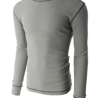 LE3NO PREMIUM Mens Classic Long Sleeve Crew Neck Thermal Mini Waffle Knit T Shirt (CLEARANCE)