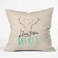 Allyson Johnson Love you deerly Outdoor Throw Pillow