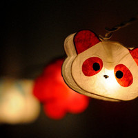 20 x Panda teddy bear and Flower cute handmade paper lantern string light garland girl room kid party decoration home