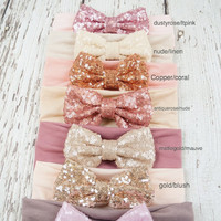 sequin bow headband, sparkle bow headband, bow headwrap, baby headband, turban headband, floppy bow headband, big bow headband, headband