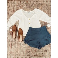 Tie Sleeve Button Blouse, Off White