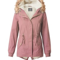 Cozy Sherpa Lined Military Anorak Parka Hoodie Jacket with Pockets (CLEARANCE)